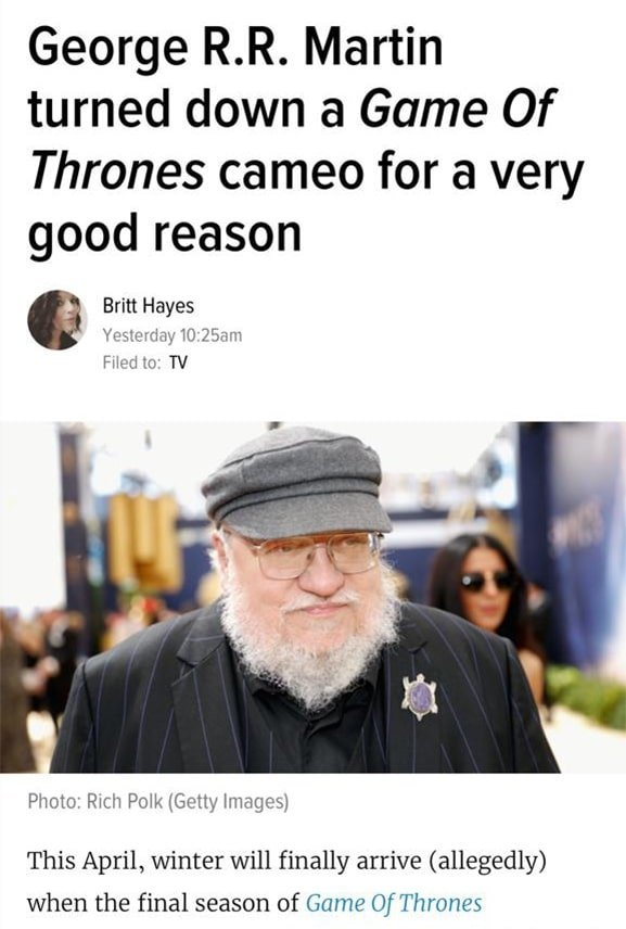George R.R. Martin turning down a cameo in Game of Thrones