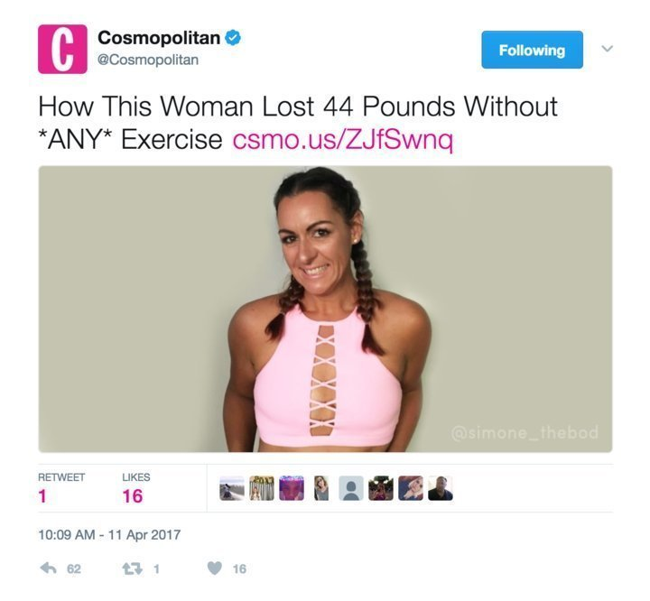 Woman looses 44 pounds without exercise
